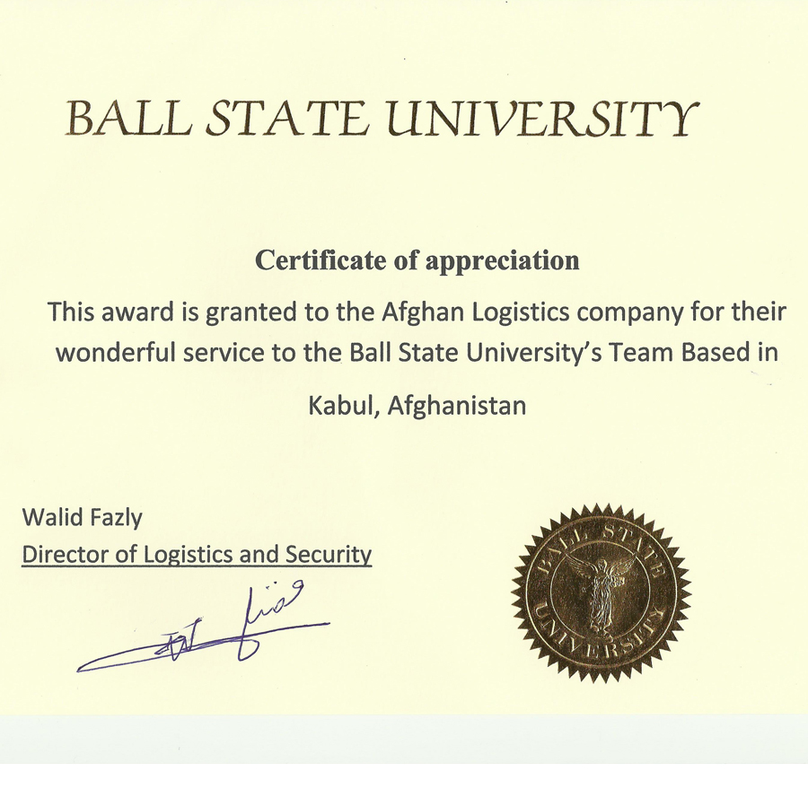 Certificate From Ball Stat For Afghan Logistics