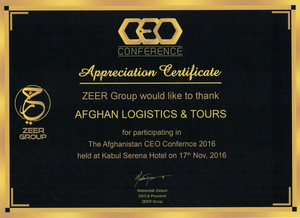 Zeer Group Appreciation letter
